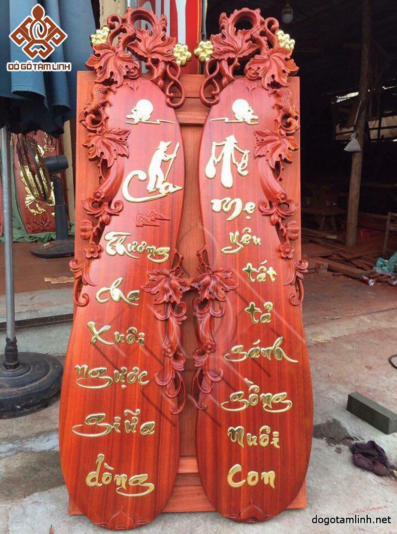 Bộ tranh gỗ Cha Mẹ - Gỗ hương, hoàn thiện sơn PU, dát vàng