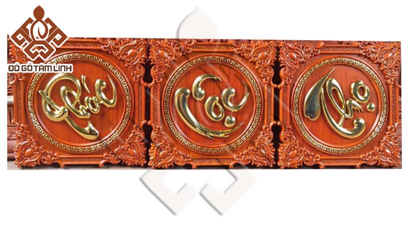 Tranh chữ Phúc Lộc Thọ bằng gỗ