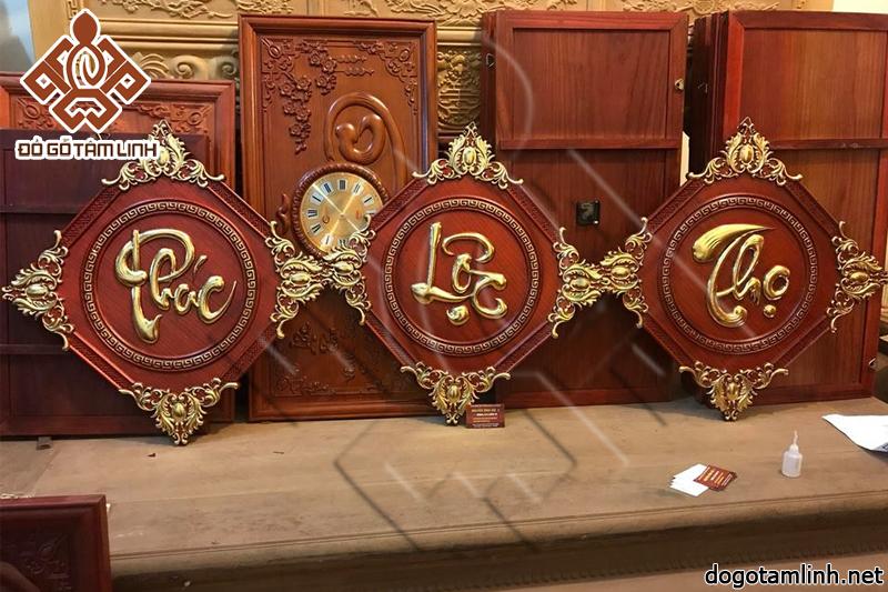 Tranh chữ PHÚC LỘC THỌ gỗ hương dát vàng