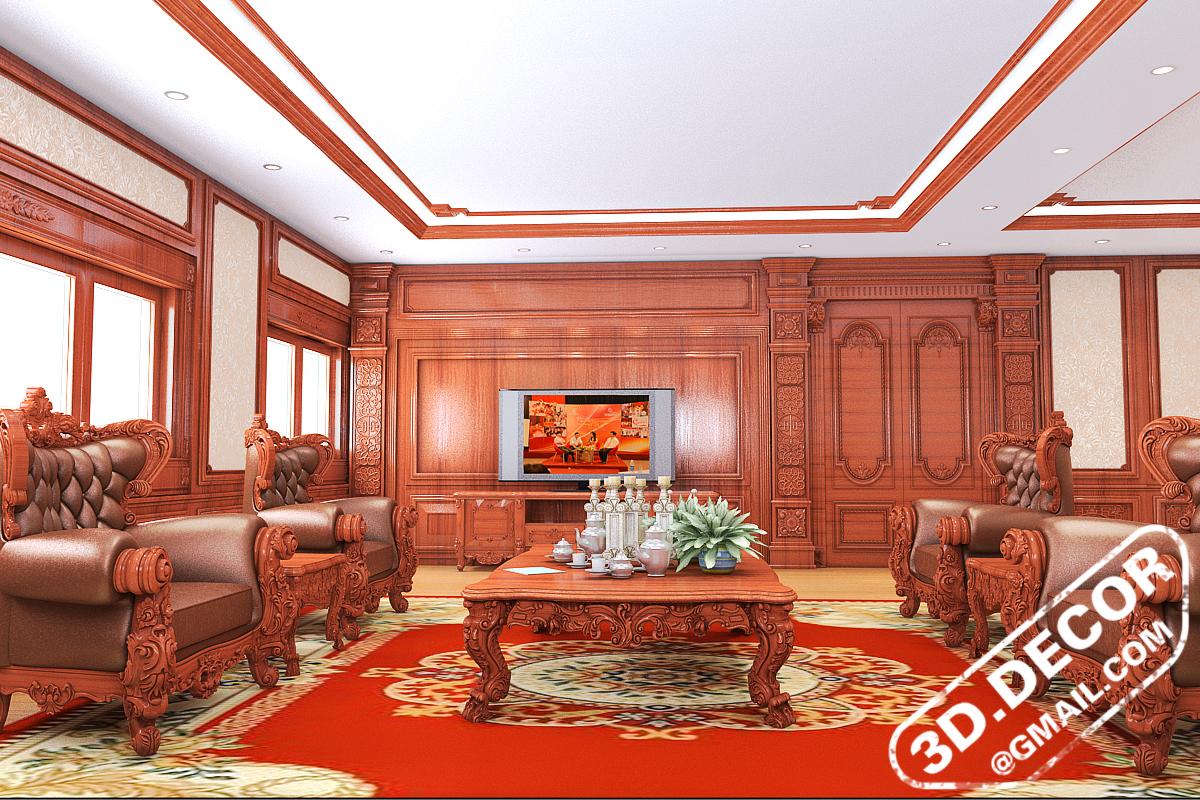 Đối diện với không gian phòng khách chính là kệ thờ tivi