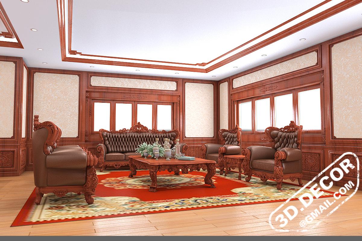 Bộ bàn ghế được đặt giữa phòng trên thảm đỏ nhung