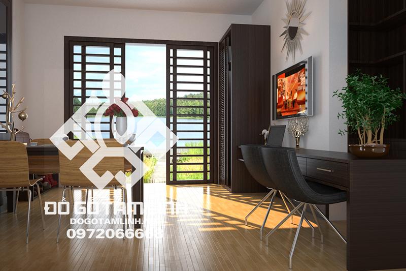 Thiết kế và thi công nội thất Resort gỗ tự nhiên phòng bếp