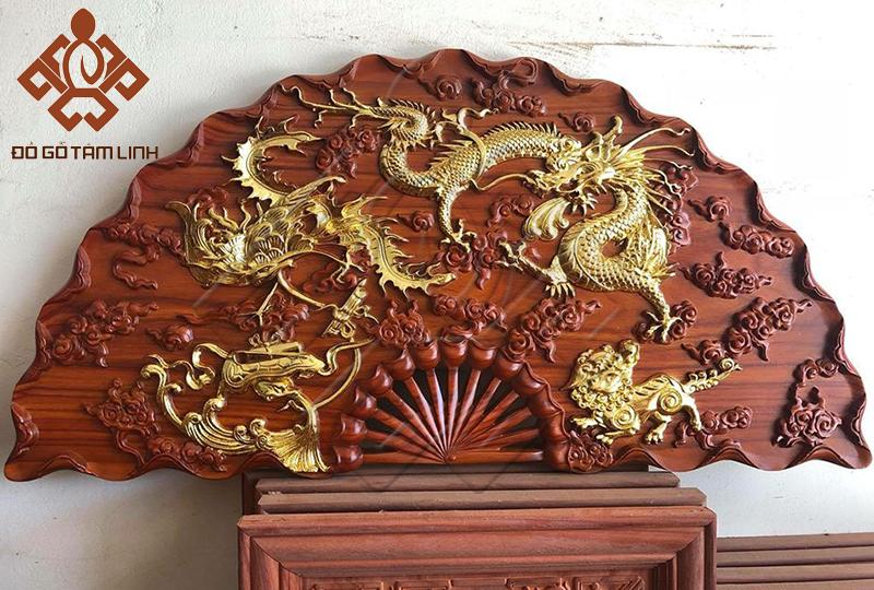 Tranh gỗ quạt rồng bay phượng múa hàng dát vàng