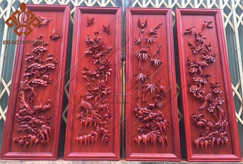 Bộ tranh gỗ tứ quý được hoàn thiện giao cho khách