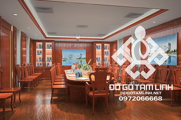 Thiết kế nội thất phòng họp bằng gỗ tự nhiên