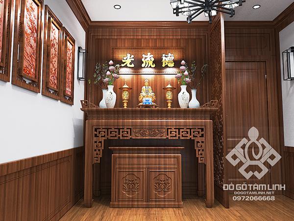 Thiết kế nội thất phòng thờ chung cư bằng gỗ tự nhiên