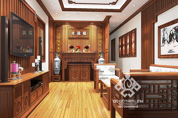 Thiết kế nội thất phòng thờ gia tiên bằng gỗ tự nhiên tại Nam Định
