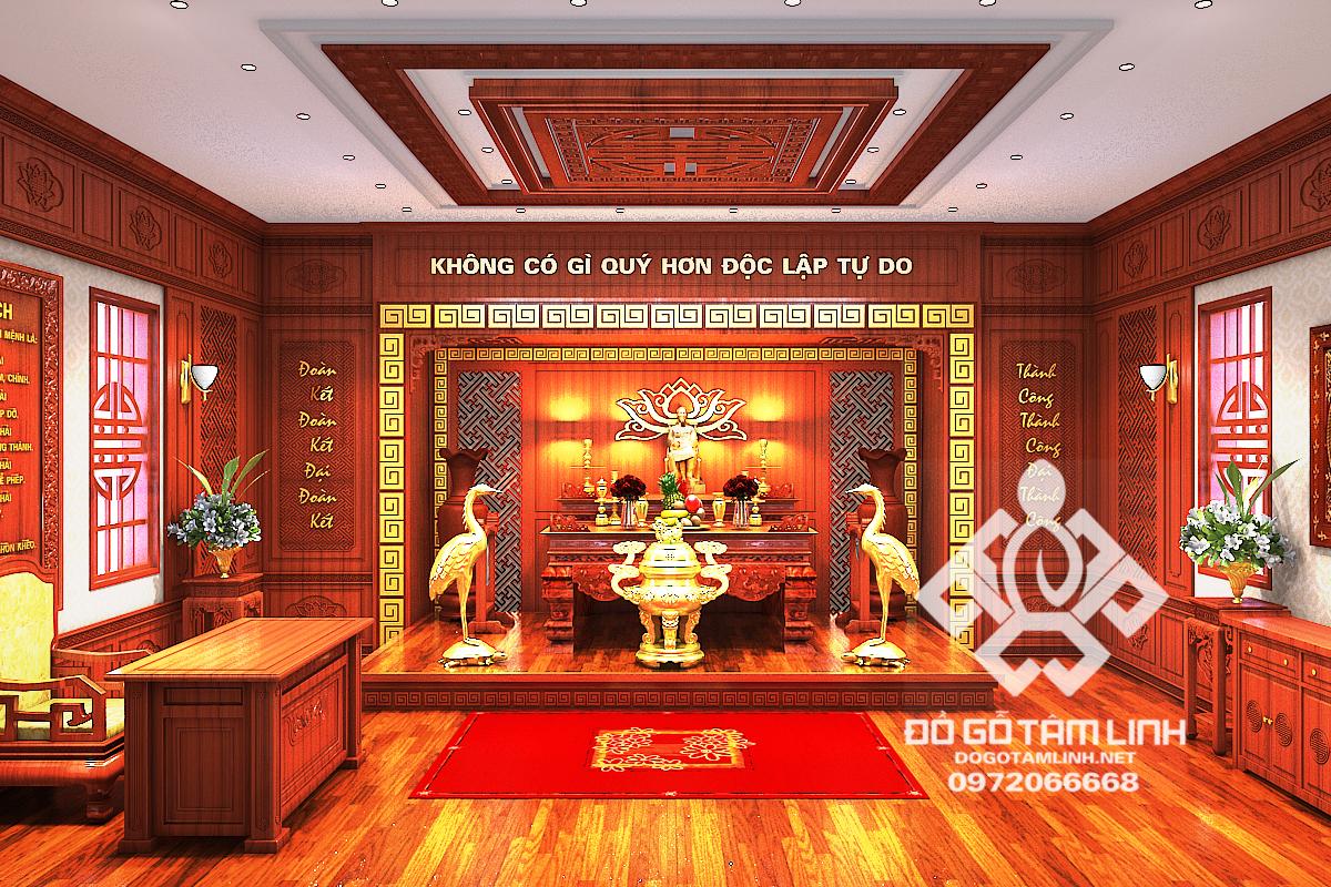 Thiết kế không gian nội thất phòng thờ Bác Hồ