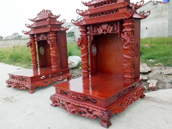 Mẫu bàn thờ thần tài bằng gỗ tự nhiên
