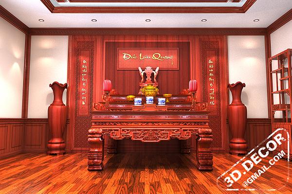 Thiết kế nội thất phòng thờ bằng gỗ tự nhiên