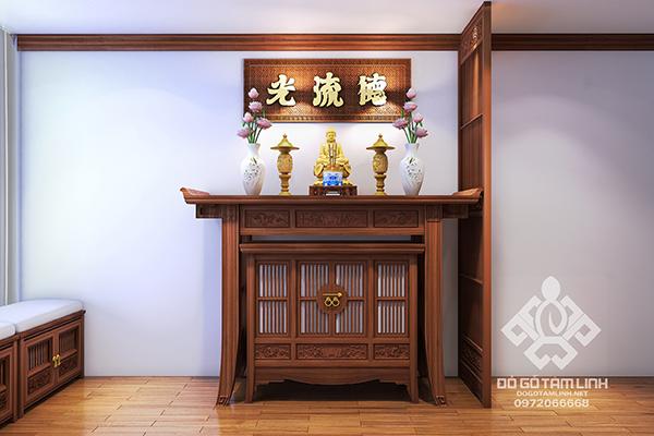 Thiết kế nội thất phòng thờ gỗ tự nhiên nhà anh Quang