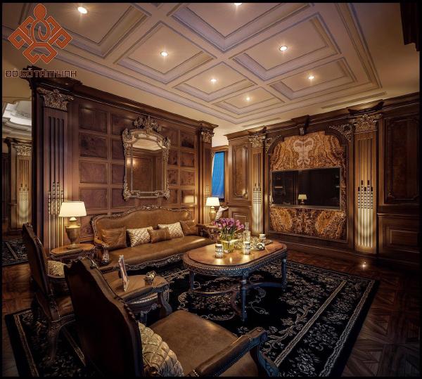 Thiết kế nội thất phòng khách cổ điển bằng gỗ tự nhiên