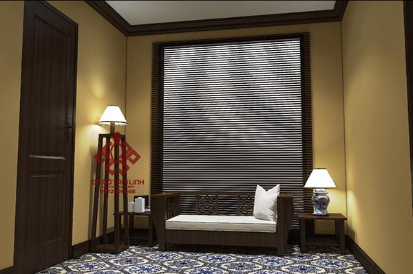 Thiết kế nội thất phòng ngủ bằng gỗ gụ cao cấp