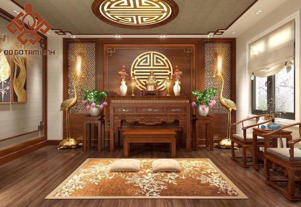 Mẫu thiết kế nội thất phòng thờ tân cổ điển cao cấp