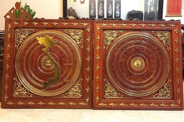 Mẫu tranh gỗ trống đồng
